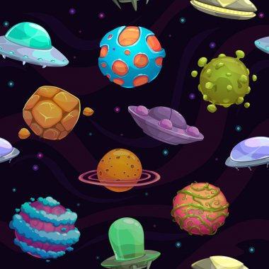 Seamless pattern with ufos and fantastic planets