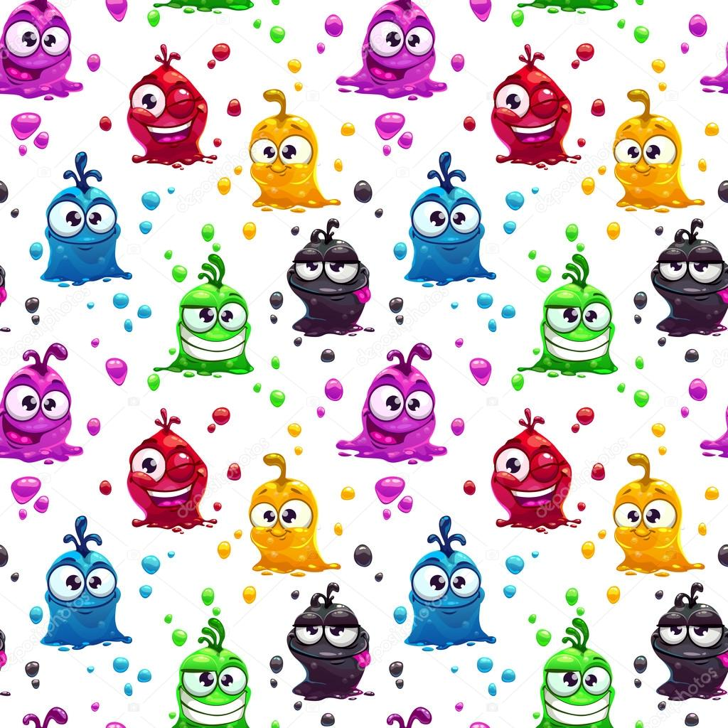 Seamless pattern with funny jelly characters