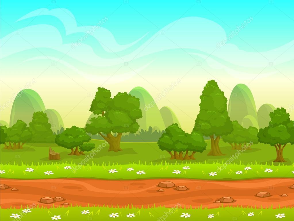 Cute cartoon seamless landscape