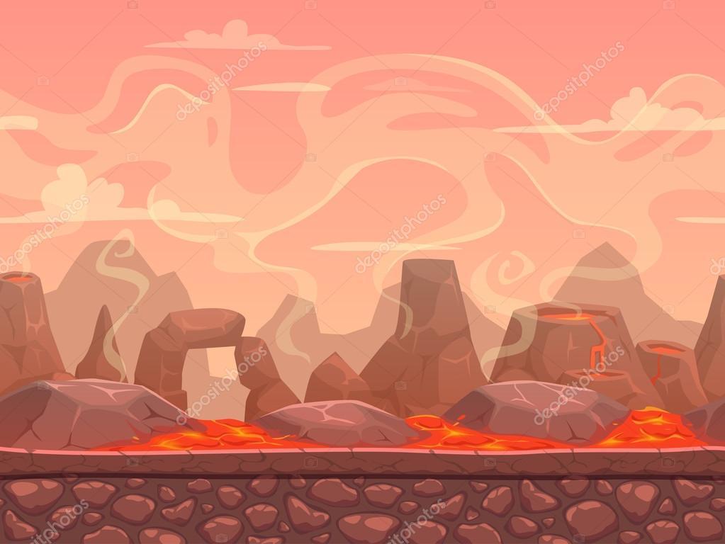 Seamless cartoon volcano desert landscape