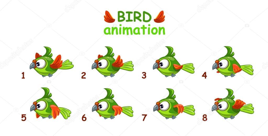 Funny cartoon flying green parrot