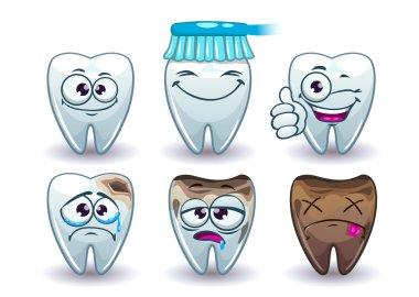 Funny cartoon vector teeth set