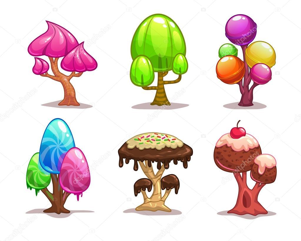 Arbre De Bonbons Sucrés De Dessin Animé Image Vectorielle