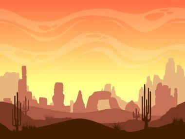 Seamless cartoon desert landscape