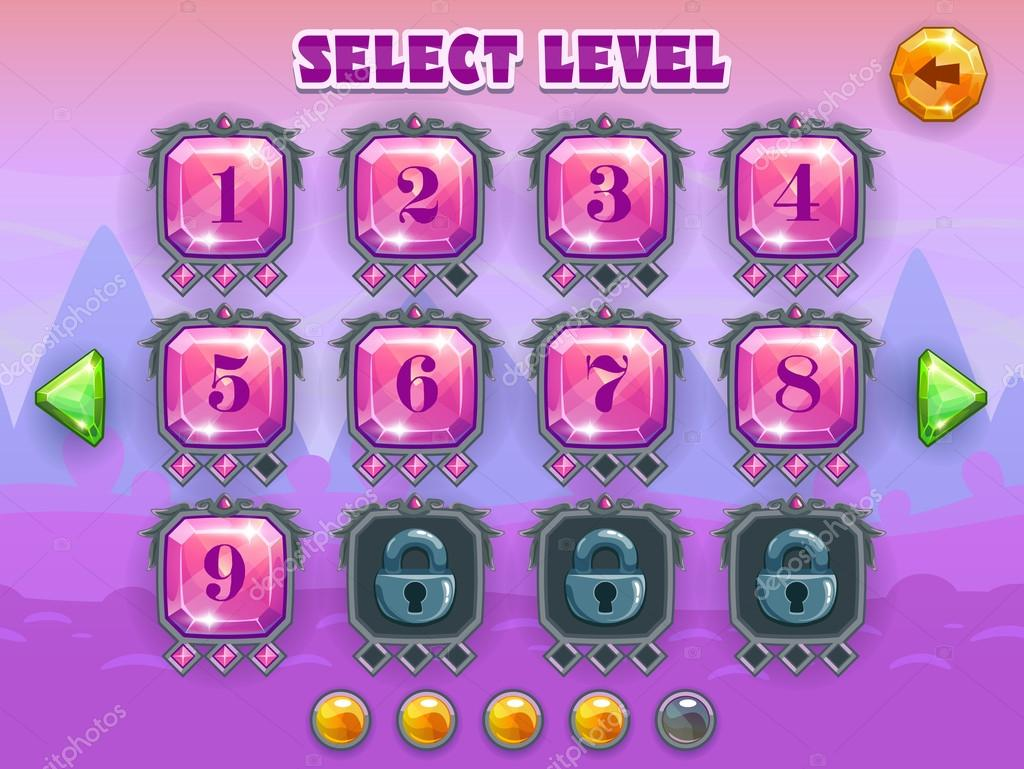 Cartoon level selection game screen, vector crystal games assets on fantastic background stock vector
