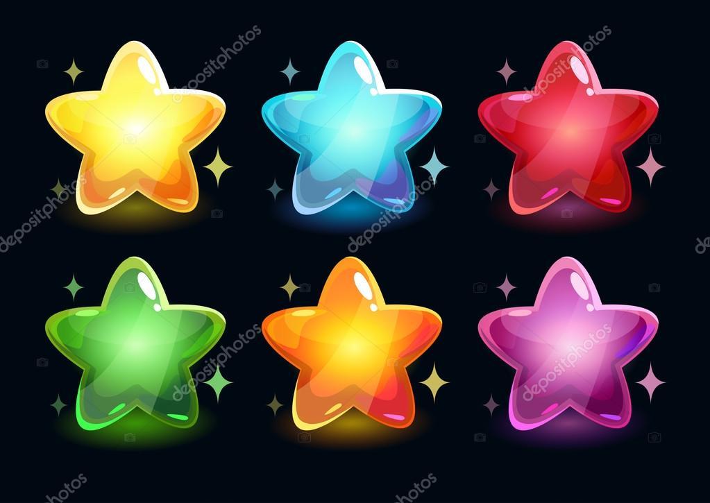 Estrellas Brillantes Coloridos Dibujos Animados