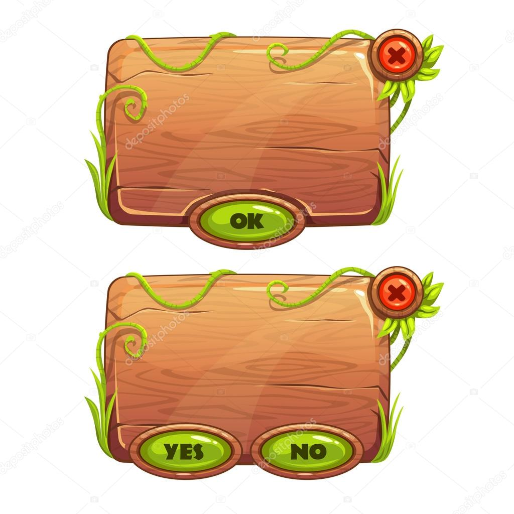 Funny cartoon game panels in jungle style, wooden gui elements, vector isolated games assets stock vector
