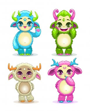 Funny cartoon fluffy baby monsters set