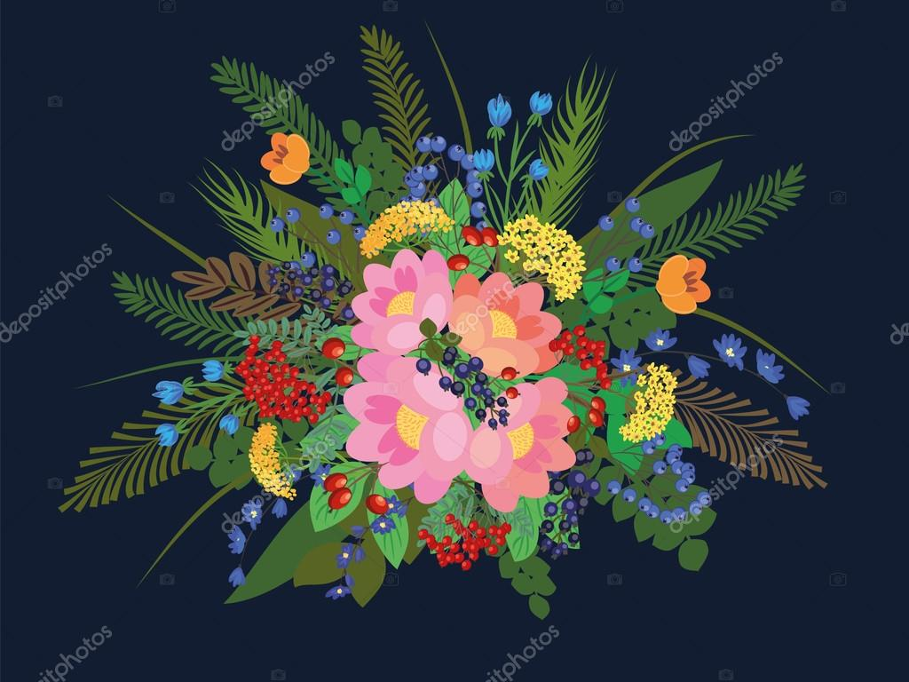Vector ornate composition with flowers and forest plants