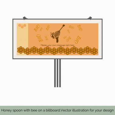Honey spoon with bee on a billboard