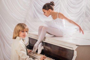 Children in ballet. Duet.