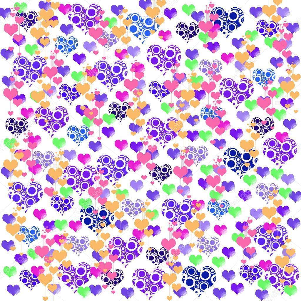 Coloridas ilustraciones de amor corazones en colores de ...