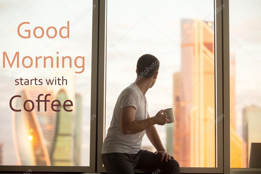 Beber Café Ao Nascer Do Sol Frase Motivacional Bom Dia St