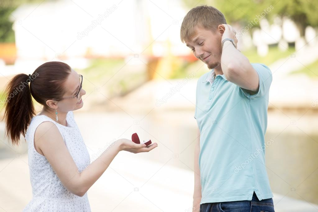 A woman making proposal to boyfriend