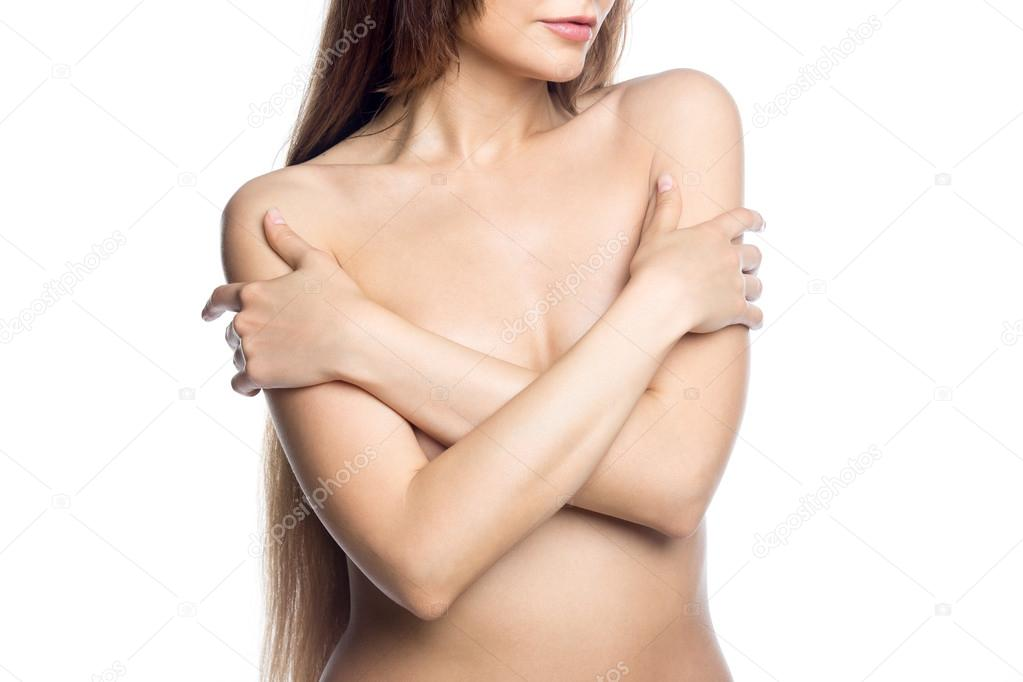 Hot girl covering naked body with hands Sexy Naked Woman Covering Her Breasts With Hands Studio Stock Photo By C Fizkes 117681770