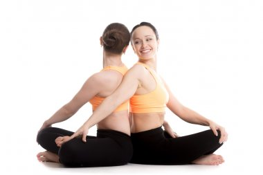 Yoga with partner, Easy (Decent, Pleasant Pose), Sukhasana