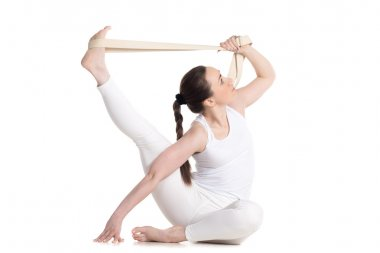 Yoga with props, parivritta kraunchasana pose