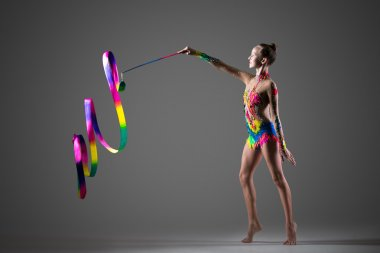 Gymnastics performance with ribbon