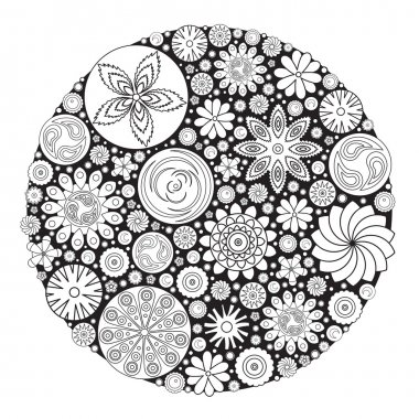 Flower design for coloring book for grown up. An adult coloring book.