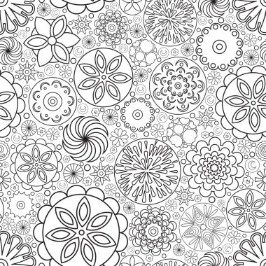 Vector seamless monochrome floral pattern. Imitation of hand drawn flower doodle texture.