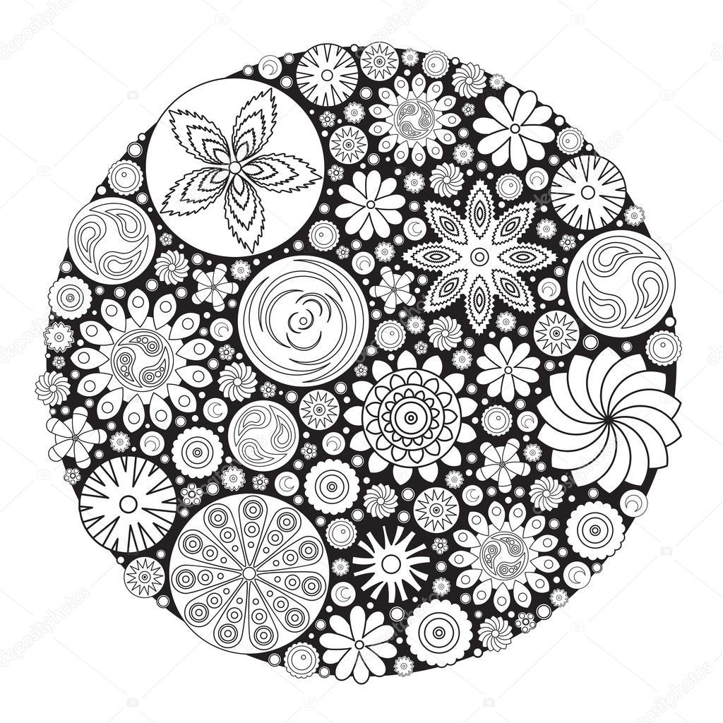 Diseño de flores para colorear libro para crecido. Un libro de ...
