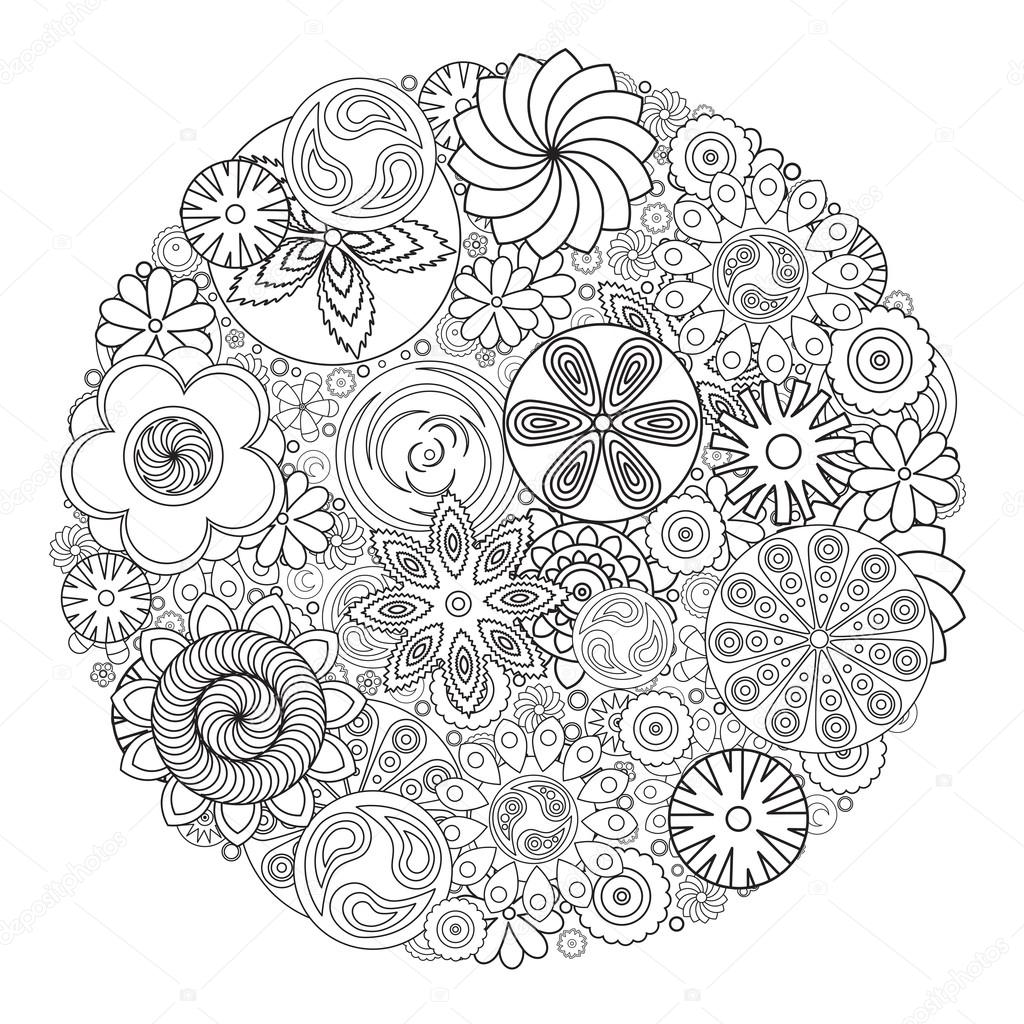 Flower Design For Coloring Book Grown Up An Adult