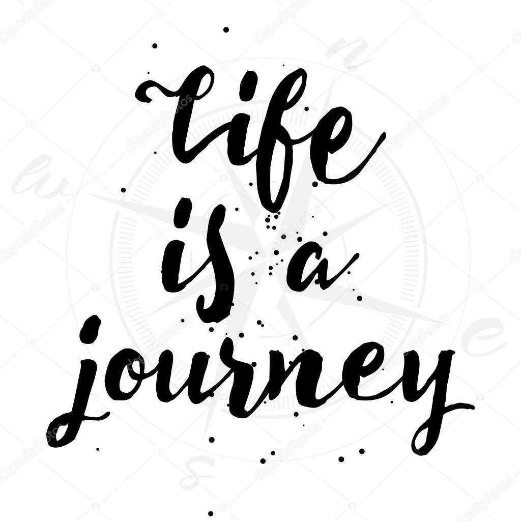 Life Is A Journey Inspirational Quote Stockvector Goldenshrimp