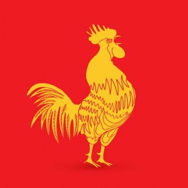 Traditional yellow gold rooster on red background as zodiac symb