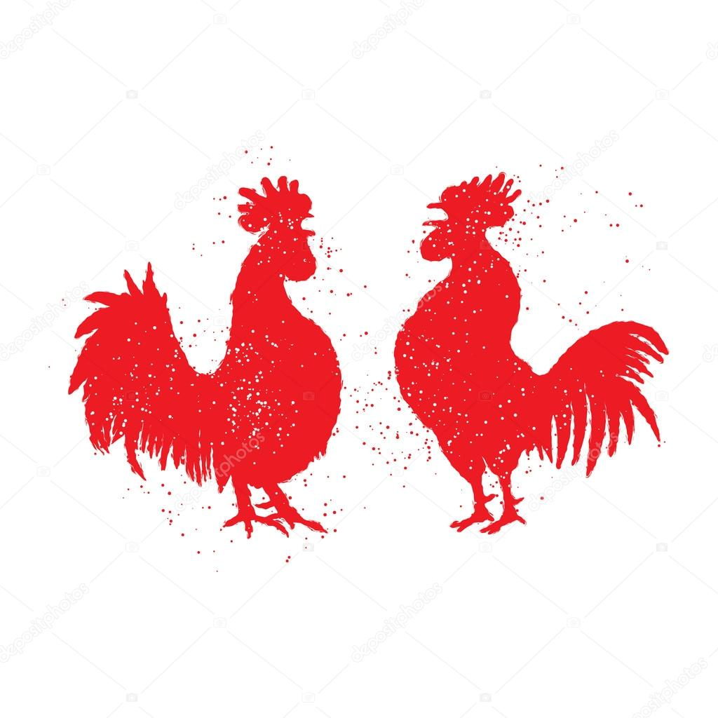 Couple of red roosters