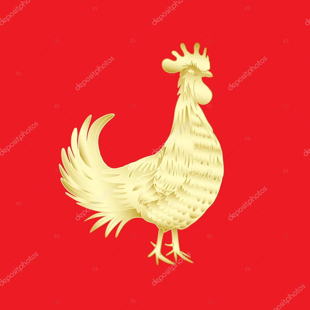 Chinese new year rooster symbol stock photo goldenshrimp chinese 2017 new year of the rooster symbol gold metallic rooster on red background is looking at right hand drawing doodle with gradients biocorpaavc