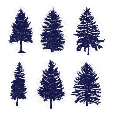 Set of pine trees silhouettes