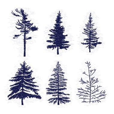 Set of pine trees silhouettes