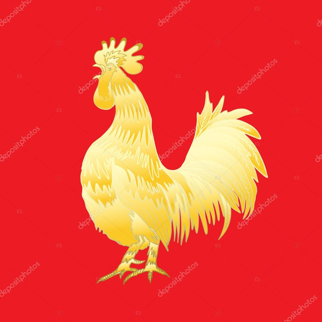 Chinese traditional rooster symbol stock photo goldenshrimp chinese 2017 new year of the rooster symbol gold metallic rooster on red background is looking at left hand drawing doodle with gradients biocorpaavc