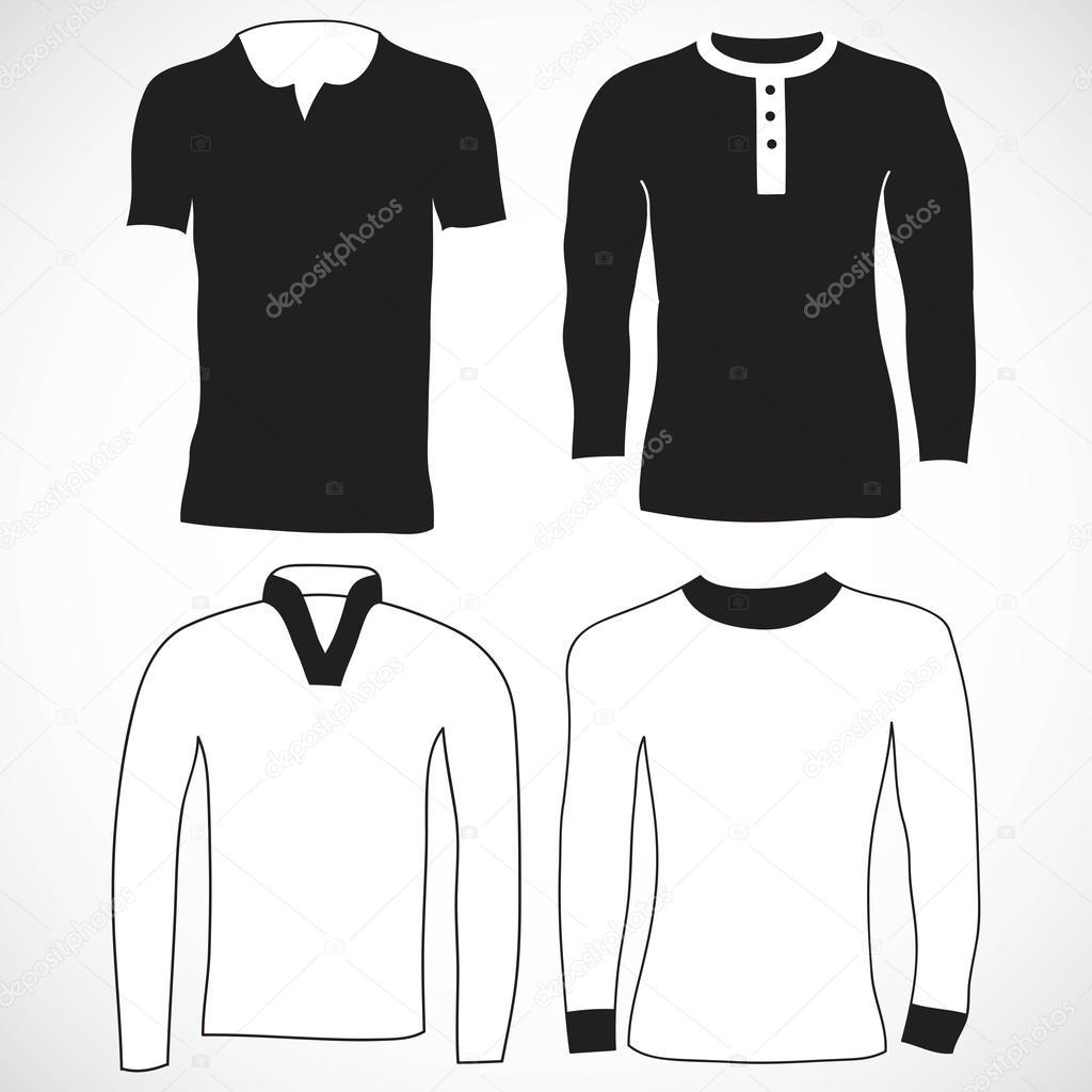 Camiseta y plantilla de manga larga — Vector de stock ...
