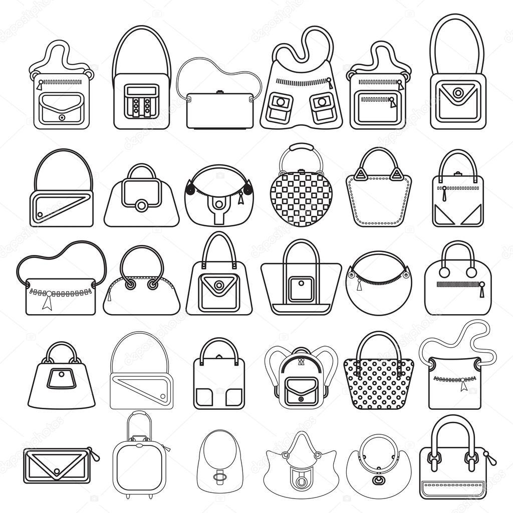 021347142cab3 Beyaz zemin üzerinde farklı çanta tasarımları çizimi — goldenshrimp - Vektör