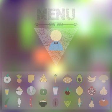 """Картина, постер, плакат, фотообои """"меню символов натуральных продуктов"""", артикул 63868715"""