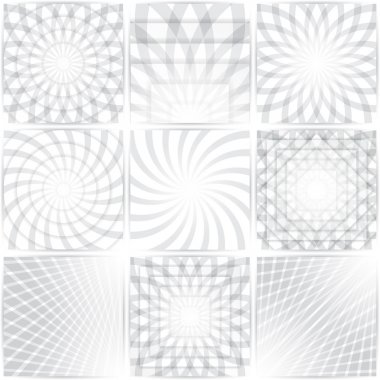 Geometric patterns set. Colourful abstract circular, concentric backgrounds with shadows clip art vector
