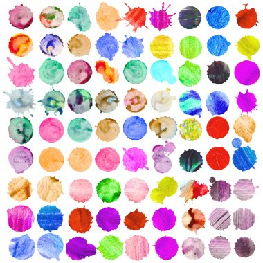 Set of watercolor blobs, isolated on white background clip art vector