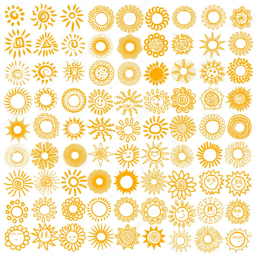 Set of sun symbols.