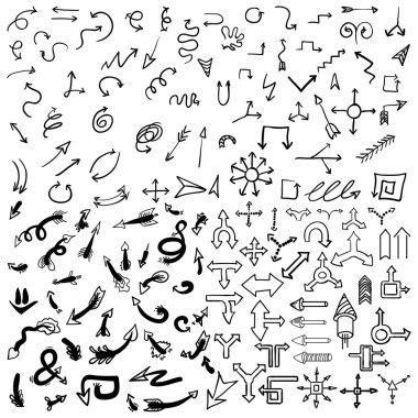 Vector hand drawn arrows icons