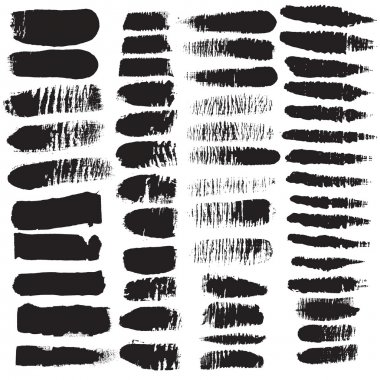 Variety, black, scratched brush strokes