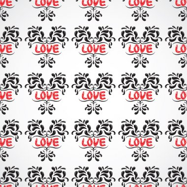 Seamless pattern with petals in shape of heart