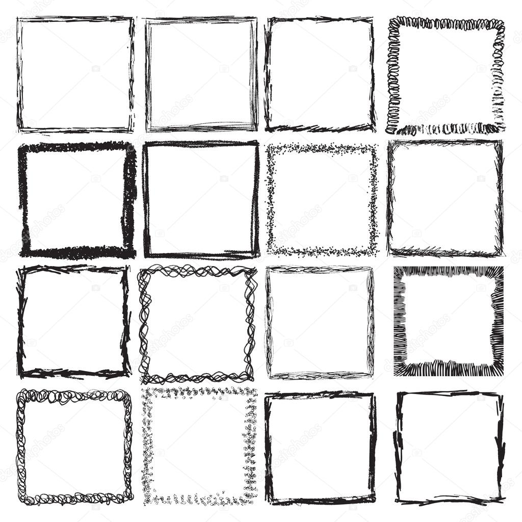 Square in Grungy Style for your Design .