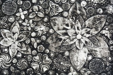 Flowers, abstract grunge surface