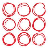 Červené zvýraznění kruh sada