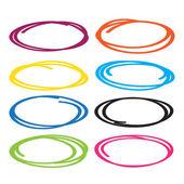 Série červená, žlutá, modrá, hnědá, zelená zvýraznit pera kruh, ruční kreslení kruhů v různých barvách.