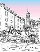 Konigstein Fortress church, Saxon Switzerland, Germany, European city, vector sketch hand drawn collection, drawing, scribble. Famous, tourists  travel, popular historic city attraction, routes. Tourism concept.