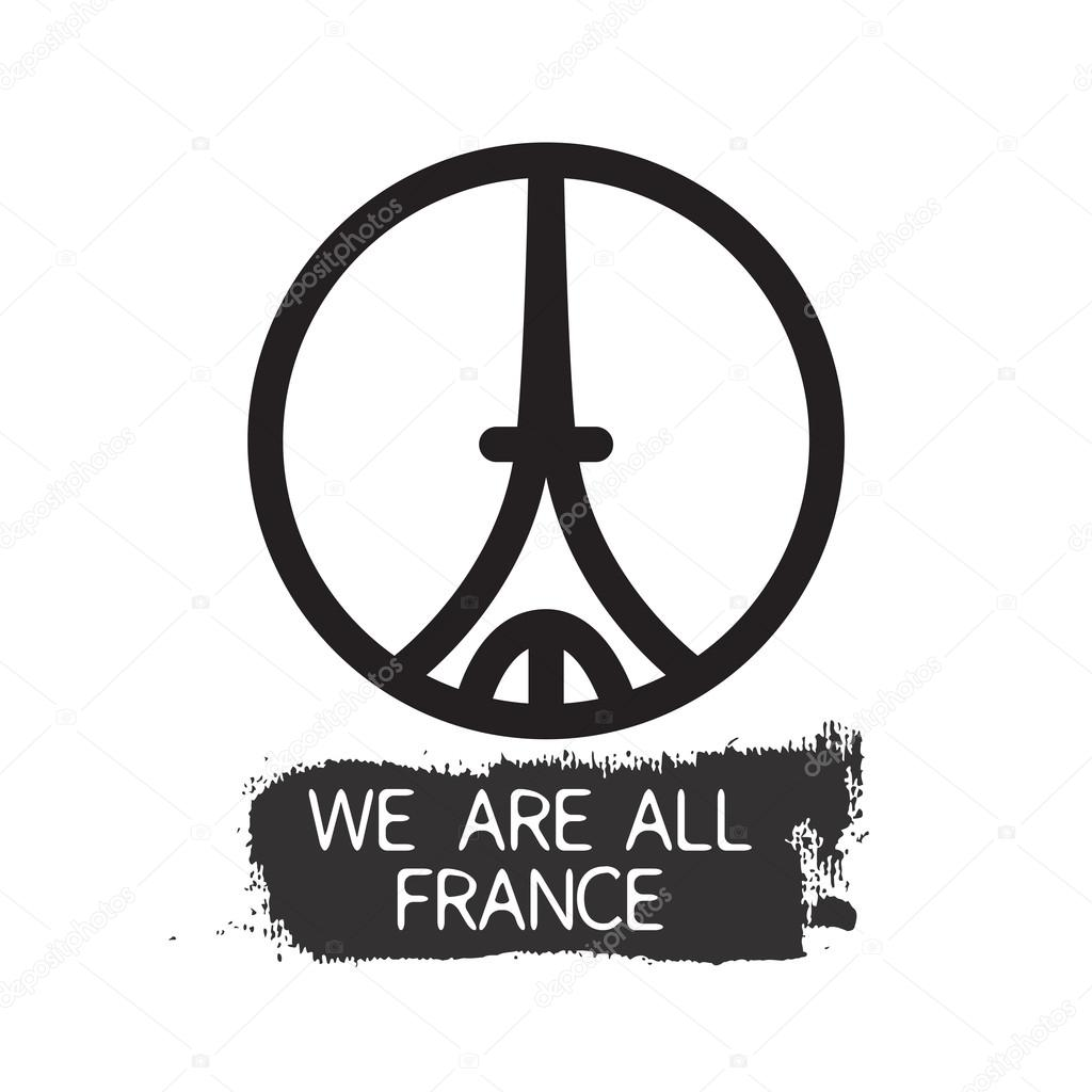 We Are All France Slogan For Travel Agency Brand With Logo Of Eiffel Tower Isolated On