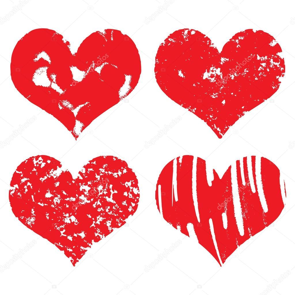 Hand Gezeichnet Herz Formen Symbole In Der Roten Farbe Fur
