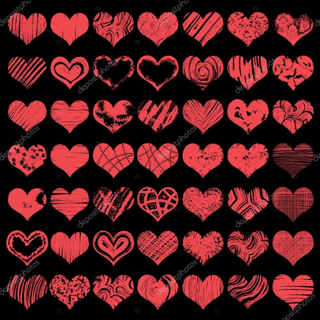 Grosse Hand Gezeichnet Herzformen Symbole In Der Roten Farbe Fur